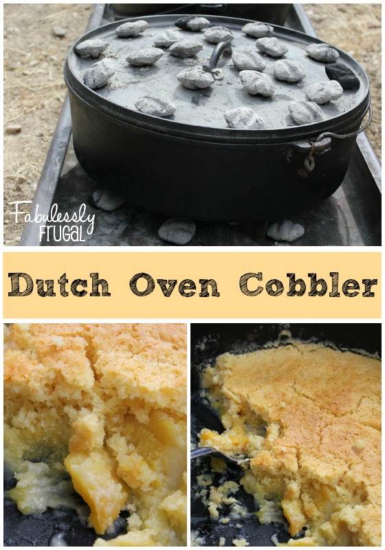 Camping Dutch Oven Peach Cobbler With Cake Mix And Sprite