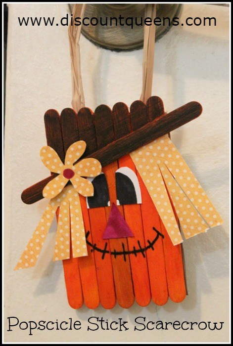 Popsicle stick scarecrow craft fabulessly frugal for Easy diy fall crafts